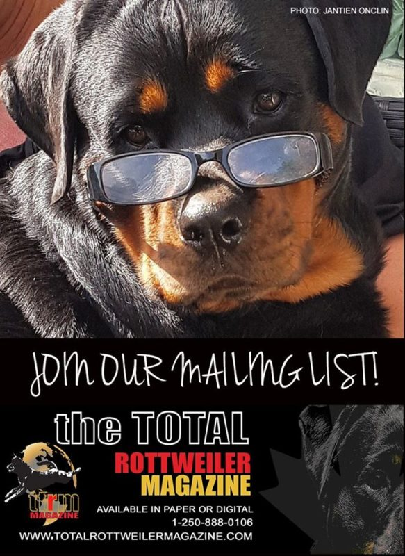 Join Our Mailing List - The Total Rottweiler Magazine